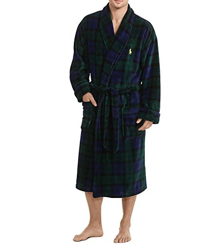 Polo Ralph Lauren Men's Long Sleeve Microfiber Shawl Collar Robe Blackwatch Plaid/Polo Yellow Pony Player One Size
