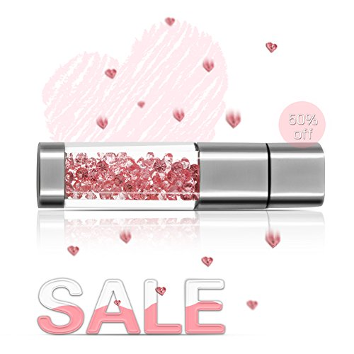 Techkey Jewelry Crystal USB Flash Drive for Girls, with 2 in 1 Anti Dust Plug + Stylus Pen for Touch Screens Set, Photo Frame Gift Packaging, 16GB, Sakura Pink