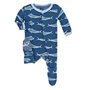 KicKee Pants Print Footie with Snaps in Twilight Dolphin Fish, 0-3M