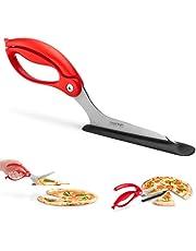 Dreamfarm Scizza-Pizza Scissors, Non-Stick and Pizza Stone Safe Pizza Cutter and Server (Red)