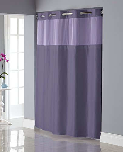 Hookless RBH34MY836 Shiny Texture Herringbone Shower Curtain with Snap-In PEVA Liner -  Purple ()