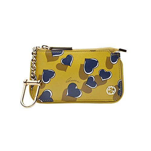 Gucci Cardamom Heartbeat Print Leather Key Case Pouch