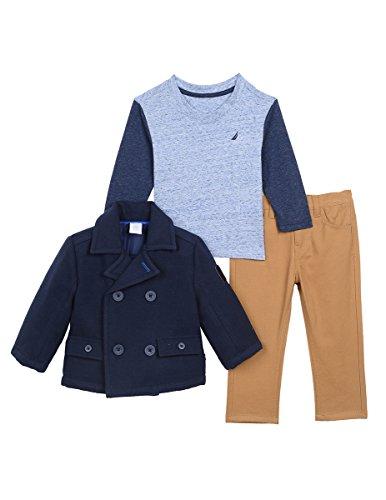 Nautica Baby Boys' Mariner Peacoat, Tee and Pant Three Piece Set, Sport Navy, 18 Months