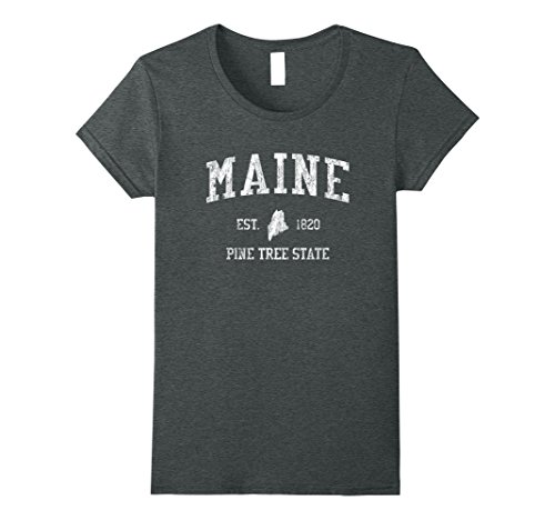 Womens Maine T Shirt Vintage Sports Design Mainer Downeaster Me Tee Large Dark Heather