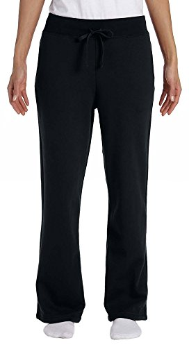 Gildan Heavy Blend Ladies 8 oz., 50/50 Open-Bottom Sweatpants, Medium, BLACK