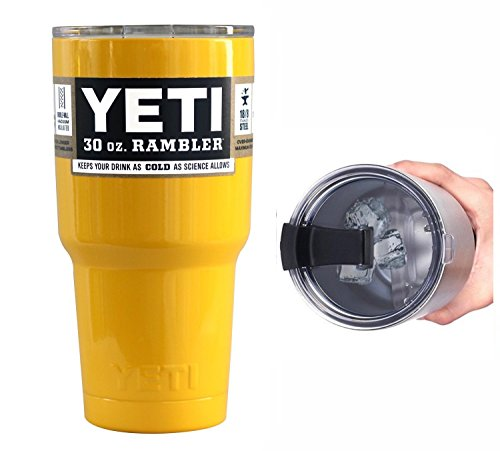YETI Coolers 30 Ounce (30oz) (30 oz) Custom Rambler Tumbler Cup Mug with Exclusive Spill Resistant Lid (Yellow)