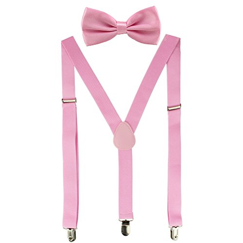 HABIBEE Solid Color Mens Suspender Y Shape with Strong Clips Adjustable Braces (Pink), 2.5cm Width