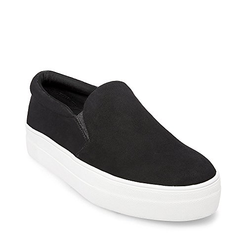 Steve Madden Women's Gills Fashion Sneaker, Black Suede, 7.5 M US