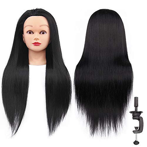 N&T Cosmetology Mannequin Head With Hair Manikin Synthetic Fiber Training Head Doll Head with Clamp and Comb (#1B Black)