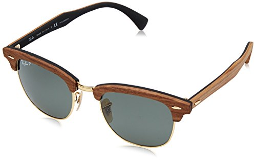 Ray-Ban Men's Clubmaster (m) Polarized Aviator Sunglasses, Walnut Rubber Black, 51 - Ray Clubmaster Black Bans