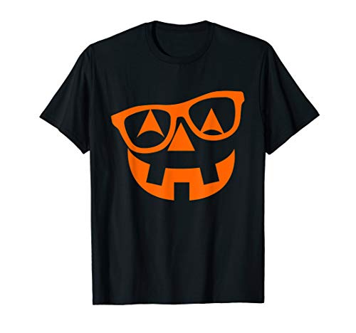 Easy Halloween Carving Pumpkins (Pumpkin Shirt with Glasses Halloween Nerd Costumes for Girls)