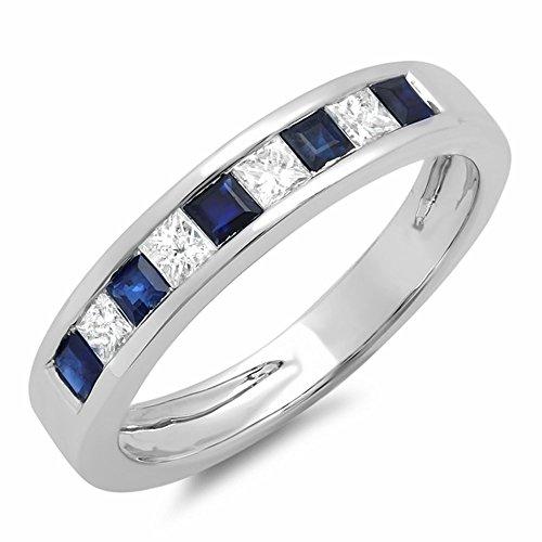 Dazzlingrock Collection 10K Princess Cut White Diamond & Blue Sapphire Ladies Wedding Band Stackable Ring, White Gold, Size 6