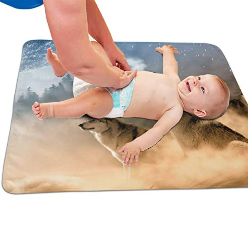 V5DGFJH.B Baby Portable Diaper Changing Pad Three Wolves Howling Urinary Pad Baby Changing Mat 31.5