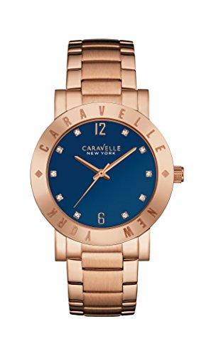 Caravelle Mens Bracelet - Caravelle New York 44L202 Ladies Boyfriend Rose Gold Steel Bracelet Watch
