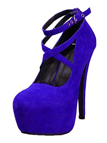 Oversize con Casual Scarpe Moda Blu con Tacco Scarpe Eleganti da Snone Tacco di Tacchi Donna Spesso Partito Sandali Scarpe Alti col Donna da Cinturino Tacco Scarpe Tacchi Scarpe Sera wqxFAS6
