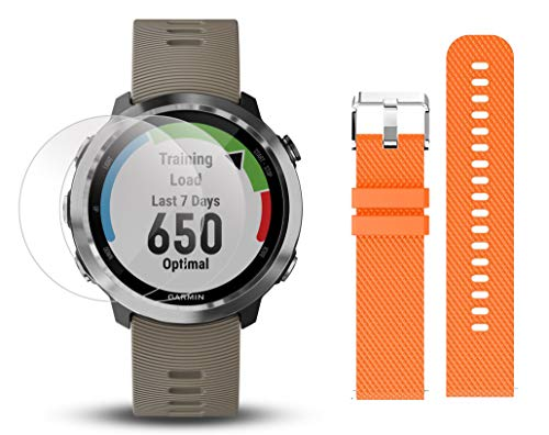 Garmin Forerunner 645 Bundle with Extra Band & HD Screen Protector Film (x4) | Running GPS Watch, Wrist HR, LiveTrack, Garmin Pay (Sandstone, Orange) by PlayBetter (Image #1)