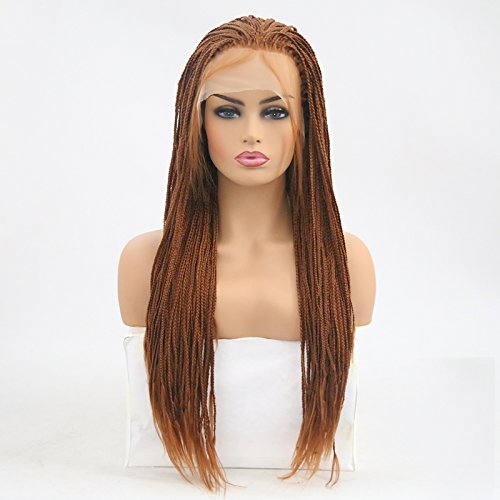 Lanting Micro Braided Long Synthetic Lace Front Wigs Heat Resistant Fiber Replacement Wigs With Baby Hair For Black Women(24inch, 30)