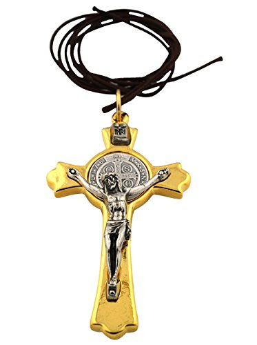 St. Benedict Crucifix with Cord and Booklet (Gold-Tone)
