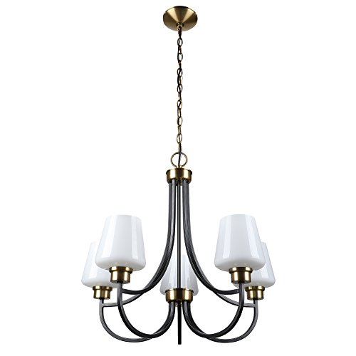- 5-Light Antique Brass Chandelier, Modern 5 Light Ceiling Lighting Fixtures with Satin Etched Cased Opal Glass Shade for Dining Room Kitchen Living Room Bedroom Foyer Hallway