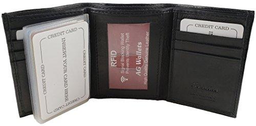 AG Wallets RFID Signal Blocking Genuine Leather Trifold Wallet for Men (Black)