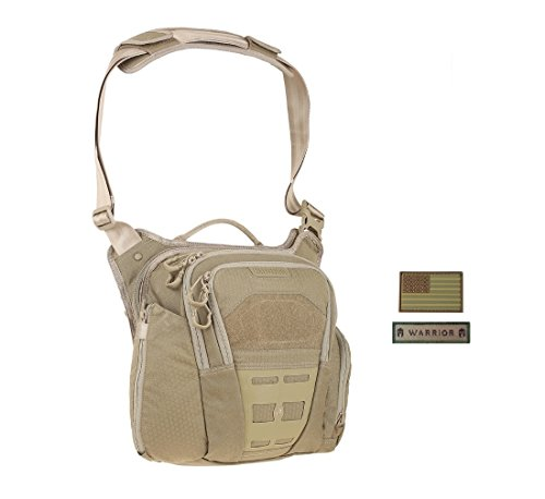 Maxpedition VELDSPAR Crossbody Shoulder Bag (TAN) + FREE Warrior & Flag Patch