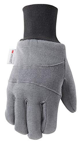 Men's Cold Weather Jersey Work Gloves, 100-gram Thinsulate, Rubber Dots for Grip, Large (Wells Lamont - Glove Lamont Wells Jersey