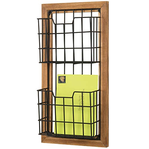 MyGift 2-Tier Rustic Burnt Wood & Black Metal Wire Wall Mounted Mail Sorter