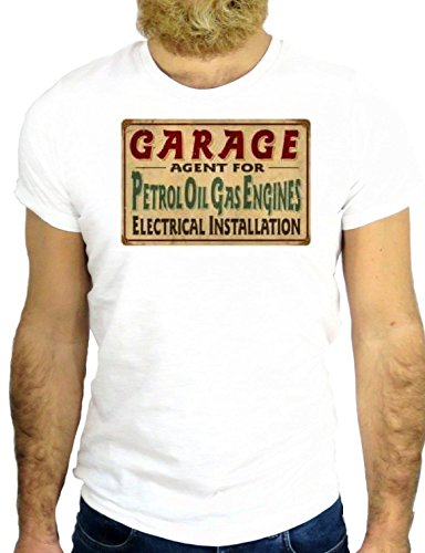 T SHIRT JODE Z2101 GARAGE COOL OIL GAS ENGINE PUMP USA AMERIC ROUTE 66GGG24 BIANCA - WHITE XL