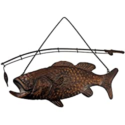 Fishing Decor Largemouth Bass Fish and Fishing Pole Metal Wall Decor, 15""