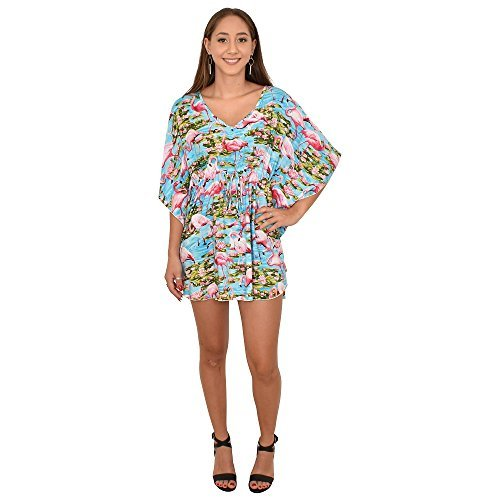 ISLAND STYLE CLOTHING Ladies Poncho Dress Blue Flamingo Floral Beach Cover, OS by ISLAND STYLE CLOTHING (Image #1)