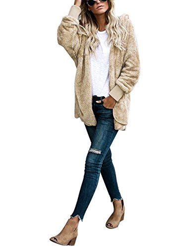 ACKKIA Women's Casual Draped Open Front Oversized Pockets Hooded Coat Cardigan Apricot Size XX-Large (US 20-22) by ACKKIA (Image #3)