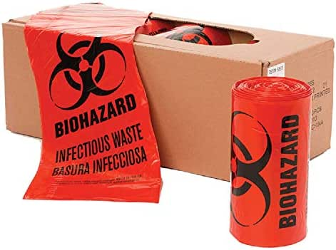 APQ Pack of 250 Open Ended Biohazard Liners, Red 24 x 23. Disposable LLDPE bags 24x23, 1.3 mil. Pre-printed Poly bags for packing and disposing Medical Waste. Plastic Bags for Healthcare Applications.