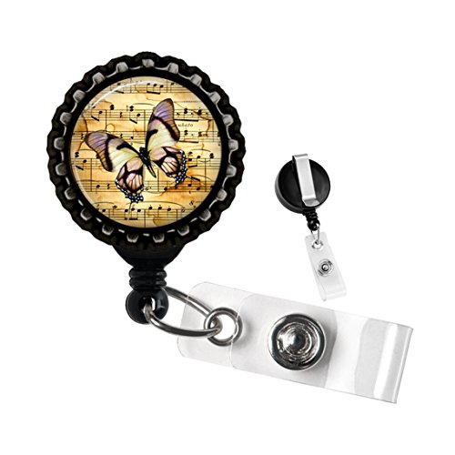 Vintage Butterfly on Music Sheet Badge Reel Black Retractable ID Tag Holder