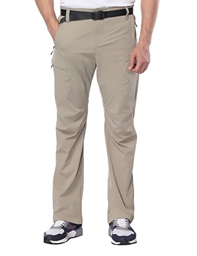 Closed Fly Pant - MIERSPORTS Men's Hiking Pants Lightweight Tactical Cargo Pants, Quick Dry, Elastic Waistband, 5 Pockets, Rock Grey, M
