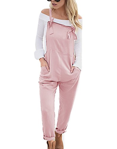 YOINS Women Fashion Overalls Bib Baggy Dungaree Adjustable Strap Romper Jumpsuit Pink S