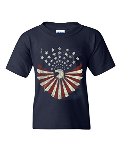 Shop4Ever® USA Flag Bald Eagle Youth's T-Shirt Patriotic 4th of July Shirts