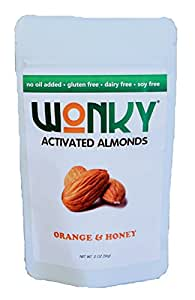 Wonky Orange & Honey Activated Almonds - Case of 8 - 2 ounce bags