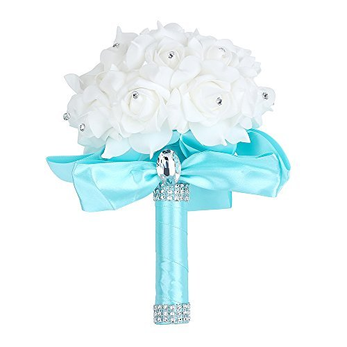 Beautiful Baby Flower Bouquet (Wedding Bouquet, Febou Big Size Bridesmaid Bouquet Bridal Bouquet with Crystals Soft Ribbons, Artificial Rose Flowers for Wedding, Party and Church (Baby Blue,Big Size))
