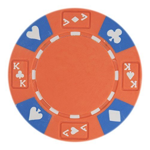 50 Orange Ace King Suited Clay Composite 14 Gram Poker Chips by Brybelly (Suited Poker 14g Clay Chip)