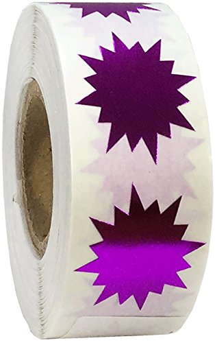 Color Coding Burst Labels Metallic Purple Starburst Design For Organizing Inventory 1 Inch 500 Total Adhesive Stickers (Burst Design Purple)