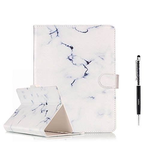 Pattern White Case (Universal Tablet 10 inch Case, SsHhUu Wallet Soft Slim PU Leather Flip Case [Marble Pattern] Magnetic Protective Cover Case + Stylus Pen for All 10 inch iPad, Galaxy Tab, Android IOS Tablet - White)