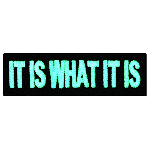 (EmbTao Glow In Dark It Is What It Is Funny Biker Embroidered Iron On Sew On Patch)