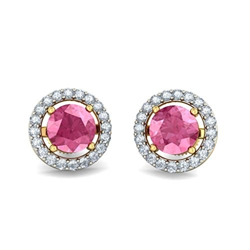 Or jaune 18 K 0,2 CT TW White-diamond (IJ | SI) et tourmaline rose Boucles d'oreille à tige