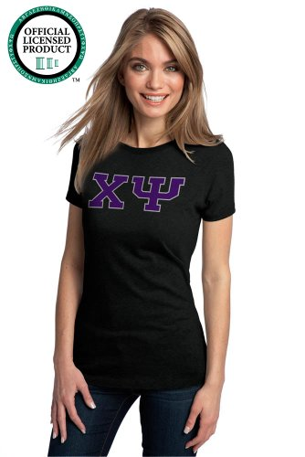Ann Arbor T-shirt Co. Women's CHI PSI Fitted T-Shirt Purple Letters
