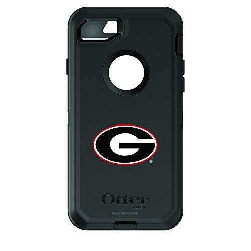 Fan Brander NCAA Black Phone case, Compatible with Apple iPhone 8 and iPhone 7 and with OtterBox Defender Series (Georgia Bulldogs)