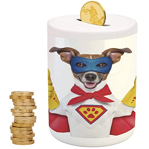 Superhero,Ceramic Child Bank,Printed Ceramic Coin Bank Money Box for Cash Saving,Super Puppy Hero Dog in Cape and Mask Costume Humor Funny Cute Picture Decorative