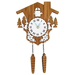 Comolife Natural & Calm & Silent Bamboo Cuckoo Clock - Squirrel , AA Battery Operated, Designed by Japanese Designer, Size : 12.87 x 7.8 Inch