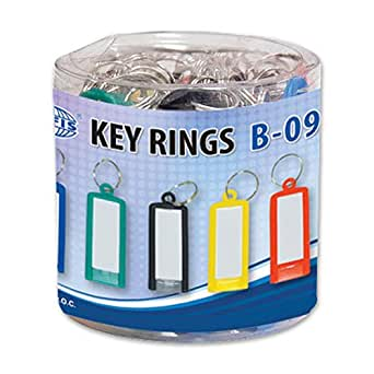 FIS Key Rings 50 Pieces Per Pack, Assorted Colors, 6 x 2.1 cm Size - FSKCB-09