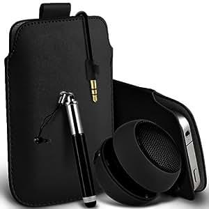 LG G2 Mini premium protección PU ficha de extracción de deslizamiento del cable En caso de la cubierta de la piel de la bolsa de bolsillo, Retractable Stylus Pen & Mini recargable portátil de 3,5 mm Cápsula Viajes Bass Speaker Jack Negro por Spyrox