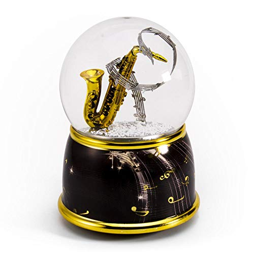 Music Theme Saxophone with Painted Base Musical Water/Snow Globe - Over 400 Song Choices - La Vie En Rose